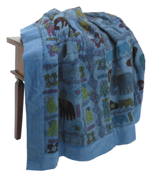 Blaue Patchwork-Decke, single