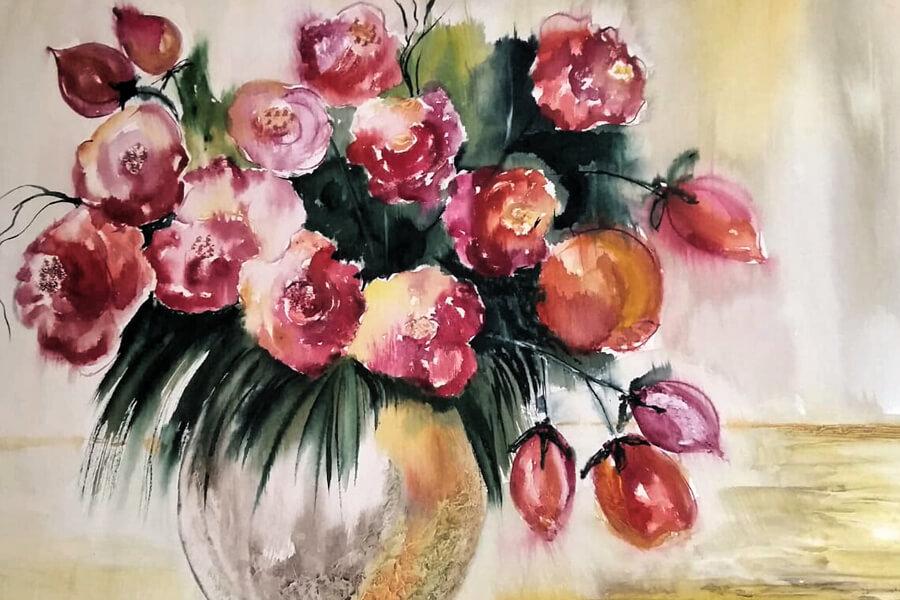 Blumen, Malerei von Karla Helbig, Kunstfest Meißen-Cölln 2019, Das Tor