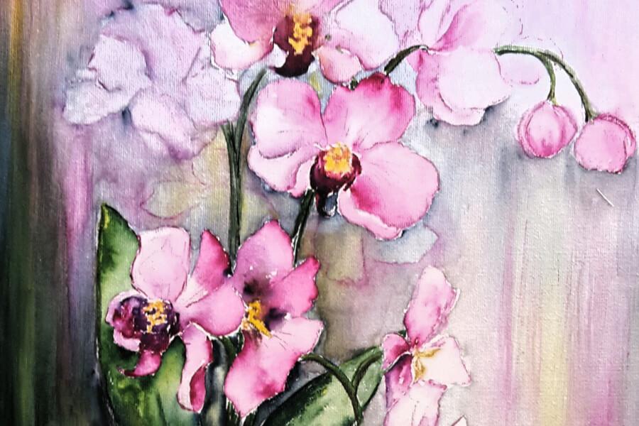 Orchideen, Malerei von Angelika Pillous zum Kunstfest Meißen-Cölln 2019, Das Tor